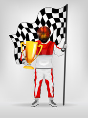 racer in red overall holding checked flag and cup with helmet