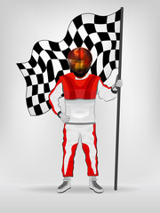 racer in red overall holding checked flag in helmet vector