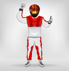 standing racer in helmet with hands on waist vector