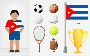 Cuban sportsman with sport equipment collection vector
