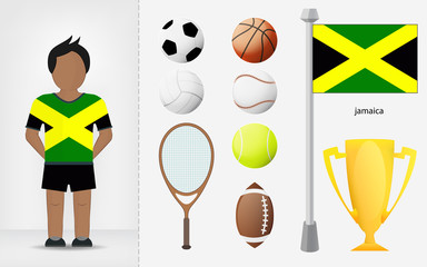 Jamaican sportsman with sport equipment collection vector