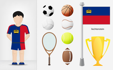 Liechtenstein sportsman with sport equipment collection vector