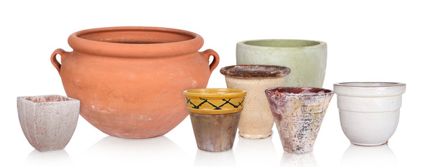 Different flowerpots, isolated