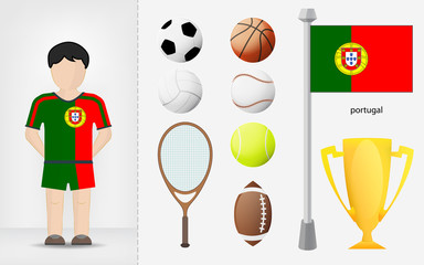Portuguese sportsman with sport equipment collection vector