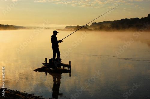 Deurstickers Vissen Рыбак