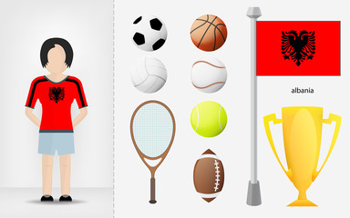 Albanian sportswoman with sport equipment collection vector