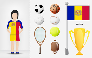 Andorran sportswoman with sport equipment collection vector