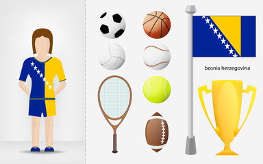 Bosnian sportswoman with sport equipment collection vector
