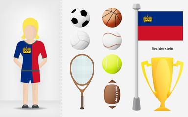Liechtenstein sportswoman with sport equipment collection vector
