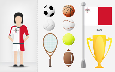 Maltese sportswoman with sport equipment collection vector
