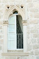 Beautiful window of the old Korcula house, Croatia