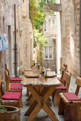 Traditional sidewalk restaurant in Korcula, Croatia