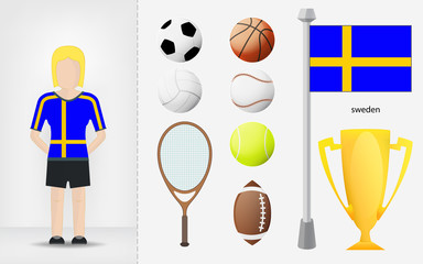 Swedish sportswoman with sport equipment collection vector