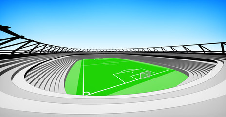 football stadium view with blue sky design my own