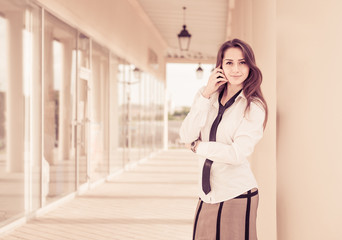 pretty business woman portrait outdoor