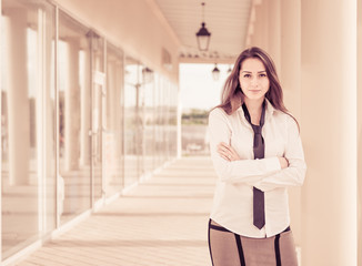 office lady portrait at modern building background