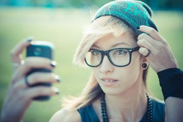 young beautiful model woman selfie