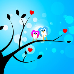 Tree Owls Represents Valentine's Day And Forest