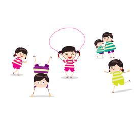 Little children doing skipping against white