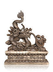 Bronze chinese dragon isolated with clipping path.