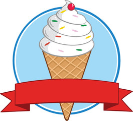 Ice Cream Cone Circle Banner. Illustration Isolated on white