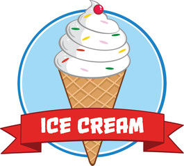 Ice Cream Cone Circle Banner With Text