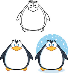 Penguin Cartoon Mascot Character Poses 1. Collection Set
