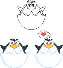 Penguin Cartoon Mascot Character Poses 5. Collection Set