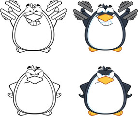 Penguin Cartoon Mascot Character Poses 7. Collection Set