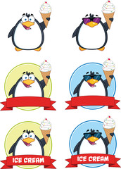 Penguin Cartoon Mascot Character Poses 6. Collection Set