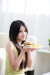 Woman loves hamburger