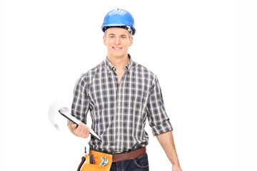 Engineer holding a clipboard