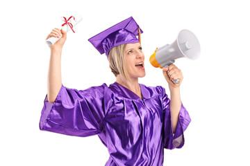 Female graduate student speaking on a megaphone