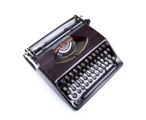 Old Brown Typewriter isolated