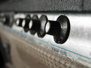 Vintage  guitar amplifier closeup