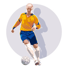 Soccer player dribbling a ball