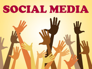 Social Media Means Hands Together And Facebook