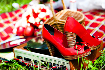 Wedding shoes red and retro player
