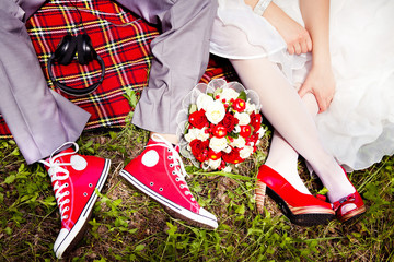 Groom Dresses red wedding shoes bride