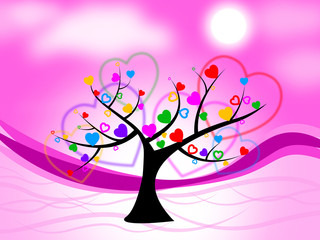 Tree Heart Means Valentine's Day And Hearts