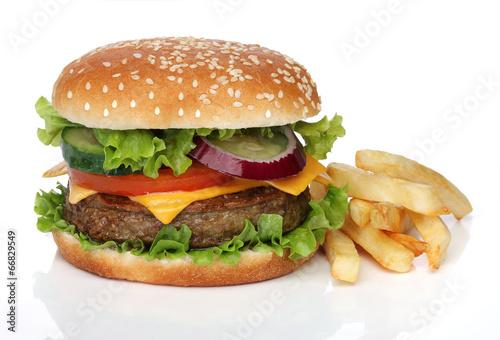 Fotobehang Restaurant Tasty hamburger and french fries isolated on white