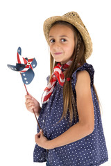 beautiful young girl holding a patriotic windmill
