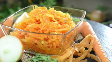 Fresh made Carrot Salad in a bowl (not loopable)