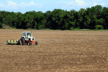 Tractor Planting Soy Bean Field
