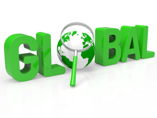 Global Magnifier Shows Searching Globe And Magnifying