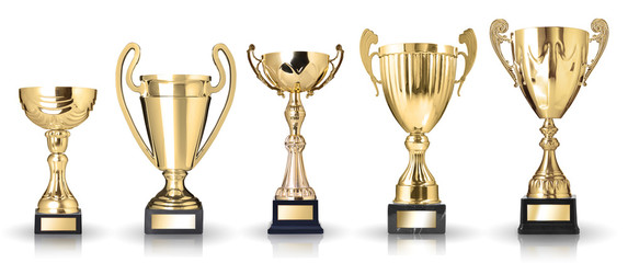 Set of golden trophies. Isolated on white background