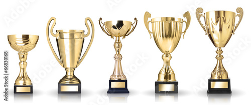 canvas print picture Set of golden trophies. Isolated on white background