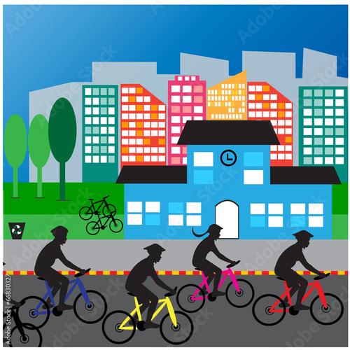 Fototapeta Bicyclist City street Traffic life health