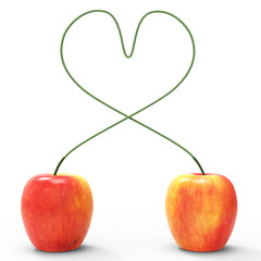 Apple Heart Indicates Valentines Day And Love