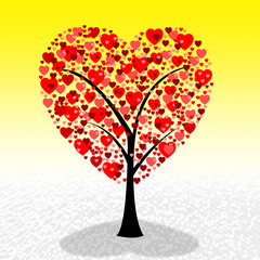 Tree Hearts Represents Valentine Day And Environment